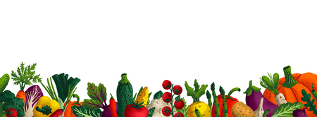 Wide horizontal vegetable background. Copy space. Variety of decorative vegetables with grain texture on white background. Farmers market, Organic food poster, cover or banner design. Vector