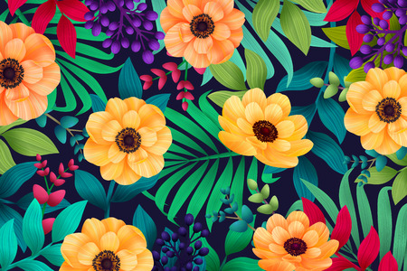 Colorful summer tropical background with exotic palm leaves and hibiscus flowers. Vector floral background.