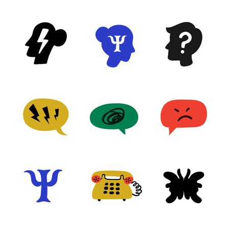 Psychology. Psychological counseling icons. Psychology, brain and mental health vector icons set on white background. Naive style flat vector illustration