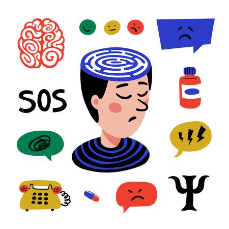 Psychology. Set of hand drawn icons on theme of psychology. Psychology, brain and mental health vector icons set. Doodle style flat vector illustration. Ilustracja