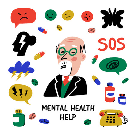 Psychiatry. Mental health help. Set of elements related to psychology and psychiatry Psychology, brain and mental health vector icons. Doodle style flat vector illustration. Illustration