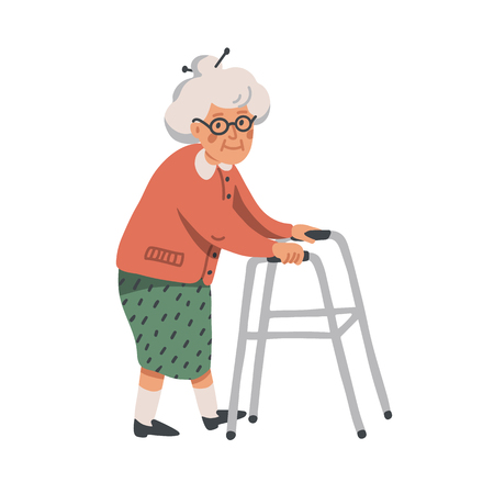 Elderly woman. Old lady character with paddle walker on white background. Nursing home. Senior woman flat Vector illustration
