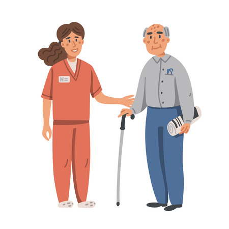 Young nurse helping and supporting elderly man. Yound woman and old man on white background. Nursing home. Senior people healthcare assistance flat Vector illustration Stock Illustratie