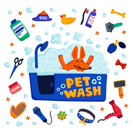 Pet grooming concept. Happy dog in a bath with foam and goods for bathing on white background. Dog care, grooming, hygiene, health. Pet shop, accessories. Flat style vector illustration Stock Illustratie