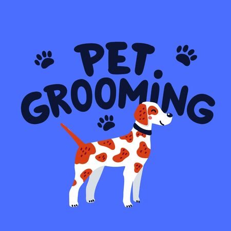 Pet grooming concept. Pet grooming lettering and pointer dog. Dog care, Goods for bathing, grooming, hygiene, health. Pet shop, accessories. Flat style vector illustration Stock Illustratie