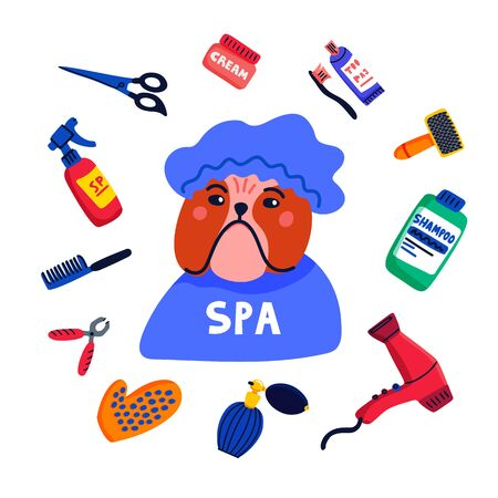 Pet grooming concept. Dog spa. Bulldog shower cap with grooming elements comb, shampoo, hand dryer etc. on white background. Dog care, grooming, hygiene, health. Flat style vector illustration