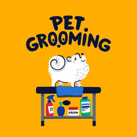 Pet grooming concept. White lap-dog on grooming table at salon. Dog care, grooming, hygiene, health. Flat style vector illustration