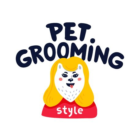 Pet grooming. Happy dog pet grooming lettering on white background. Dog care, grooming, hygiene, health. Pet shop, accessories. Flat style vector illustration