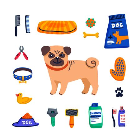 Pet care concept. Cute Pug and dog care goods on white background. Dog care, grooming, hygiene, health. Pet shop, accessories. Flat style vector illustration Stock Illustratie