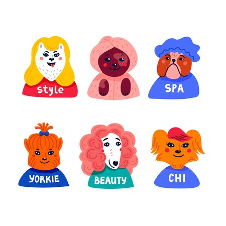 Dog beauty salon. Funny puppies character in the spa. Dog care, grooming, hygiene, health. Pet shop, accessories. Flat style vector illustration