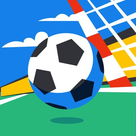 Football web banner. Live stream game. Football ball in the background of stadium. Penalty. Full color vector illustration in flat style