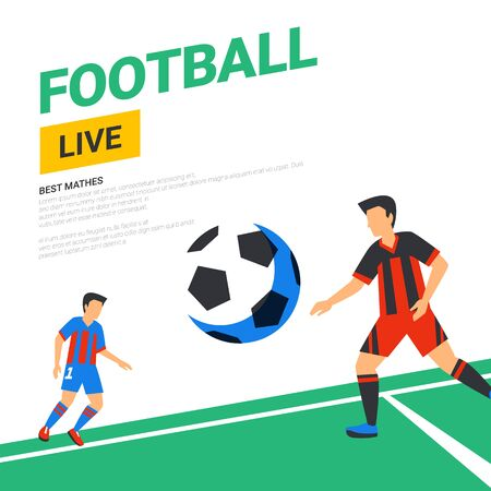 Football web banner. Live stream match. Football players with ball in the background of stadium. Full color vector illustration in flat style.