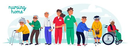 Nursing home concept. Group of elderly people and social workers. Horizontal banner or cover. Senior people healthcare assistance flat Vector illustration