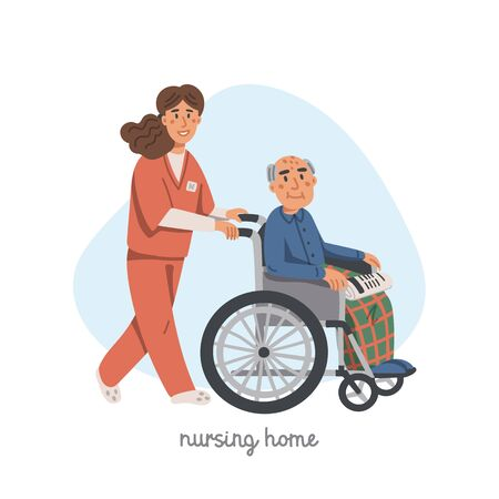 Elderly man in wheelchair and female nurse on white background. Social worker walking with grandfather in a wheelchair. Nursing home. Senior people flat Vector illustration