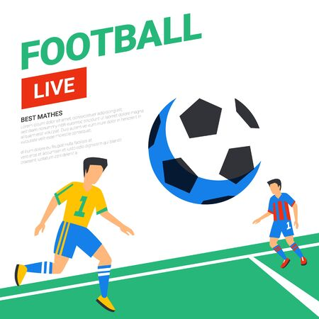 Football web banner. Live stream match. Football players with ball in the background of stadium. Full color vector illustration in flat style. Stok Fotoğraf - 131961812