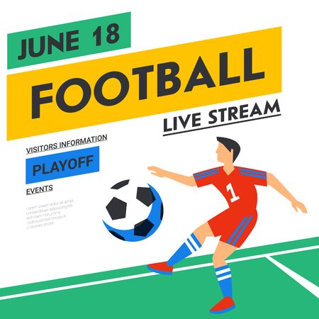 Football web banner. Live stream match. Football player in red with ball in the background of stadium. Full color vector illustration in flat style. Banco de Imagens - 131962118