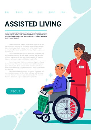 Assisred living concept. Old man in wheelchair and yound nurse. Vertical web page template. Social worker walking with grandfather in a wheelchair. Nursing home. Senior people healthcare assistance flat Vector illustration Иллюстрация