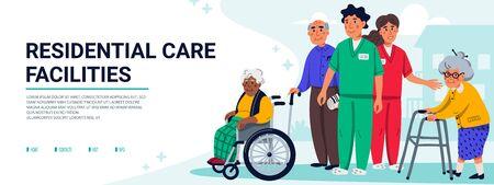 Concepto de instalaciones de atención residencial. Grupo de personas mayores y trabajadores sociales. Banner horizontal o portada. Ilustración de Vector plano de asistencia sanitaria de personas mayores