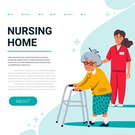 Nursing home web banner template. Old lady with paddle walker and young nurse. Senior people healthcare assistance. Flat style Vector illustration