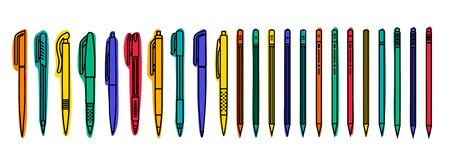 Stationary collections. Colored pens and pencils on white background. Outline vector illustration
