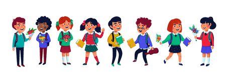 Pupils set. Group of children on white background. Flat style vector illustration.