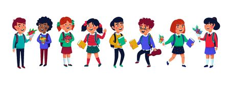 Pupils set. Group of children on white background. Flat style vector illustration.