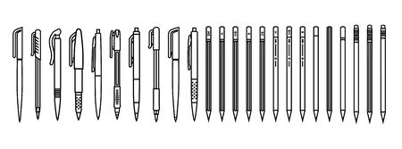 Pens and pencils set. Outline writing supplies on white background. Vector illustration. Stock Illustratie