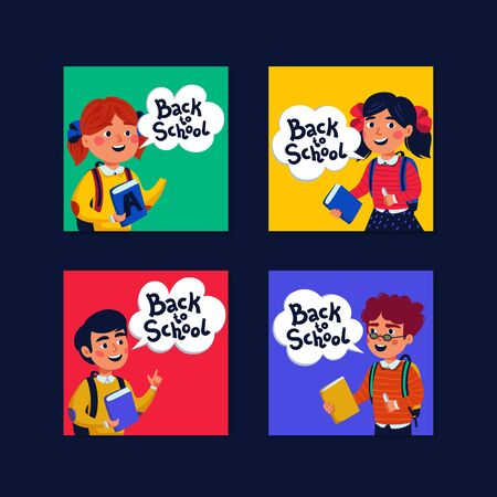 Back to school Mini cards collection. Cards with boys and girls and back to school text. Flat style vector illustration. Stock Illustratie