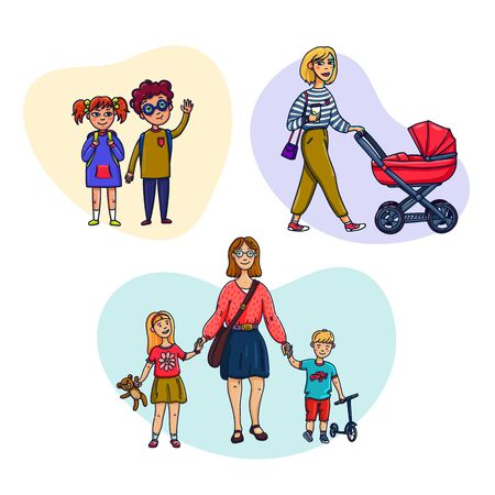 Set of mom and baby. Mother walks with children. Vector illustration in a flat style Stock Illustratie