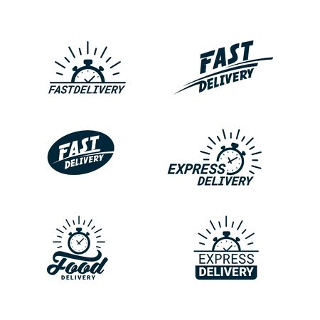 Set of Delivery Related monochrome icons with timer and fast, food, or express delivery inscriptions. Flat style vector illustration isolated on white background Stock Illustratie