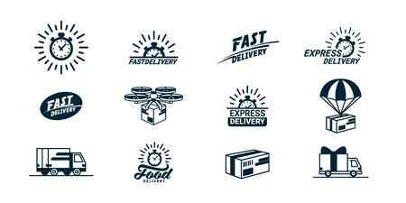 Big Delivery related monochrome Icons set.  with timer and fast, food, trucks, boxes and so on. Flat style vector illustration isolated on white background