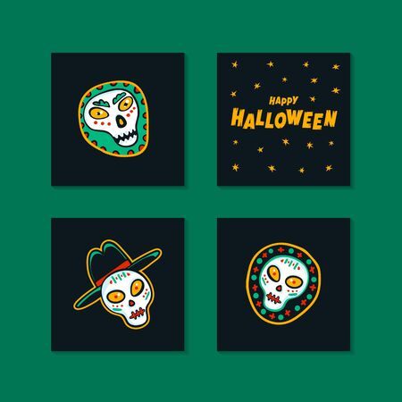 Set of Halloween holidays mini cards with handwritten calligraphy greetings and funny monsters. Flat style vector illustration.