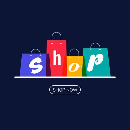 Shopping bags with shop inscription. Online shopping  Buy now button. Vector illustration on dark background.