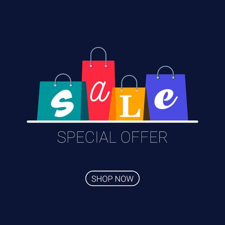 Shopping bags with sale inscription. Online shopping . Buy now button. Vector illustration on dark background.
