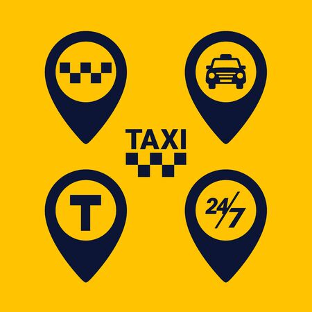Taxi icons set. Map pin shape icons on yellow background. Taxi point glyph icon. Flat vector illustration.