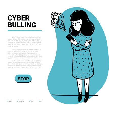 Cyber bulling web template. Sad girl reading mean abusive text messages on her phone and place for text. Flat style vector illustration on white background.