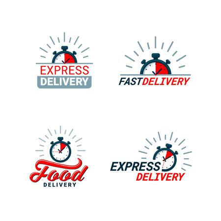 Set of Delivery Related Color Icons. Logos with timer and fast, food, or express delivery inscriptions in red and gray. Flat style vector illustration isolated on white background Stockfoto - 132574895