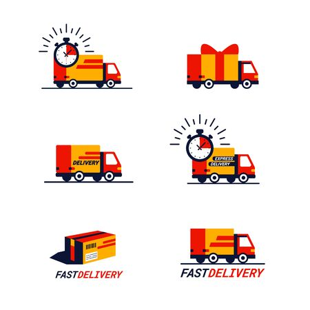 Color set of delivery related Icons. Trucks and delivery vans in red and yellow. Simple flat style icons isolated on white background Stock Illustratie