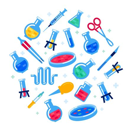 Laboratory equipment on white background. Nanotechnology and biochemistry. Round composition with Flask, vial, test-tube, glass retorts. Human genome sequencing project. Flat style vector illustration