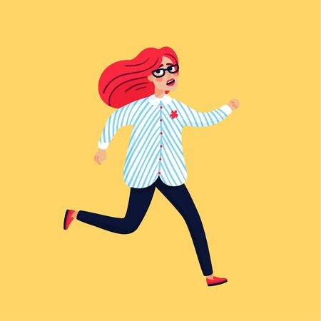 Scared young woman running away. Female character with pink hair on yellow background, Flat style vector illustration.
