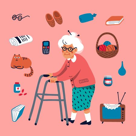 Cute grandmother walking with a walker and some elderly items on a pink background. Flat style Vector illustration.
