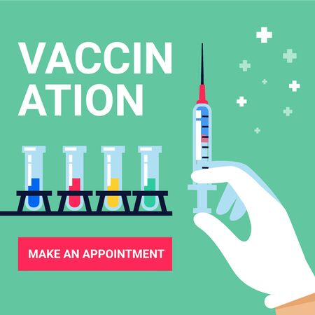 Vaccination web banner. Syringe in doctor hand, test tube vaccines and button on green background. Flat stylr vector illustration.