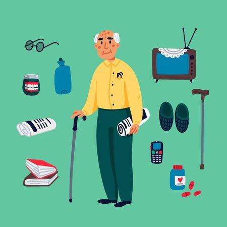Cute grandfather walking with a stick and some elderly items on a green background. Flat style Vector illustration. Stock Illustratie