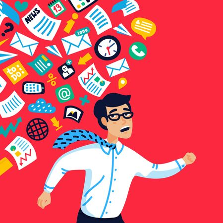 Overloading concept. Information overloading. Young businessman running away from information stream pursuing him. Concept of person overwhelmed by information. Vector illustration in flat style Stock Illustratie