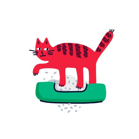 Pet grooming concept. Cat delving into a cat litter box. Cat care, grooming, hygiene, health. Pet shop, accessories. Flat style vector illustration on white background