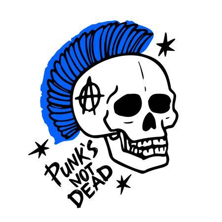 Punk rock music. Punks not dead words and mohawk skull. vector illustration on white background