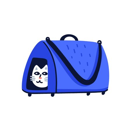 Pet grooming concept. White cat sitting in a cat carrier. Cat care, grooming, hygiene, health. Pet shop, accessories. Flat style vector illustration on white background