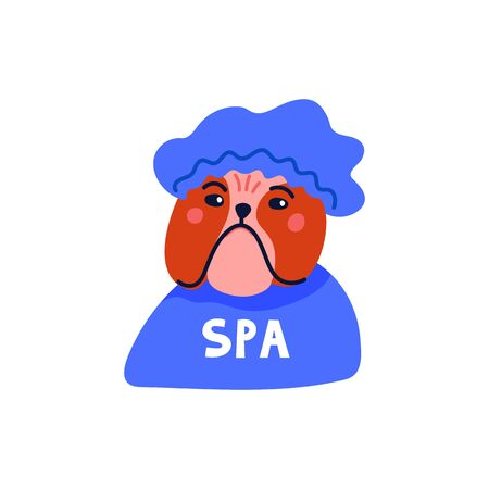 Happy cartoon english bulldog portrait on white background. Dog beauty salon. Funny puppy character in the spa. Dog care, grooming, hygiene, health. Flat style vector illustration