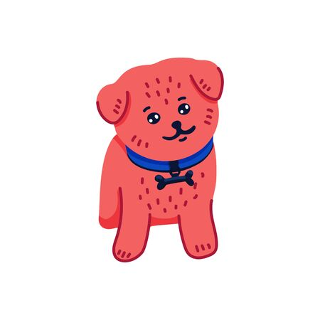 Happy cartoon puppy pomeranian spitz on white background. Dog beauty salon. Funny puppy character in the spa. Dog care, grooming, hygiene, health. Pet shop, accessories. Flat style vector illustration