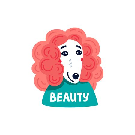 Happy cartoon puppy poodle portrait on white background. Dog beauty salon. Funny puppy character in the spa. Dog care, grooming, hygiene, health. Pet shop, accessories. Flat style vector illustration